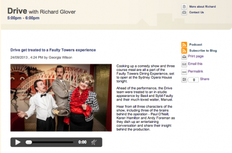 drive, richard glover, faulty towers, 702 sydney, ABC