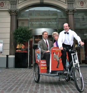 charing cross, charing cross hotel, rickshaw, london,